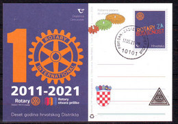 Croatia 2021 Postcard  10 Year ROTARY INTERNATIONAL Postcard Overprint Postmark 10101 Zagreb-PREMIER JOUR 17.05 - Croatia
