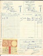 FACTURE DUPRAT FRERES BOUCAU BASSES PYRENEES A BOUGAS MOUGUERRE VINS ET SPIRITUEUX - 1950 - ...