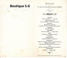 Menu Marcel Coquil Mariage Helene GRUBER Elie TRAPPE 1912 Belin Lebas BEzons - Menus