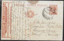"CARTOLINA POSTALE PUBBLICITARIA MICHETTI CENT.30  ""GIUSEPPE BELLENTANI ""( INT. 55B\14 - FIL. R5\14) DA GENOVA 18.8 23 - Stamped Stationery"