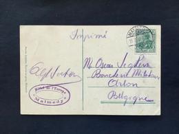 OSTKANTONS Postkarte +5PF - MALMEDY 11/07/1910 - ARLON - Covers & Documents