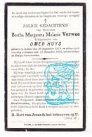 DP Bertha Margareta Verwee 37j. ° Astene Deinze 1893 † 1930 X Omer Huys - Images Religieuses