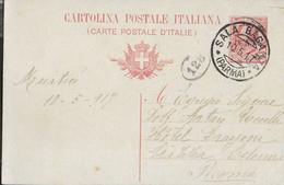 """STORIA POSTALE REGNO - ANNULLO DC """"SALA BAGANZA*10.5.17* (PARMA)"""" SU CARTOLINA POSTALE LEONI CENT 10 -PER ROMA - Marcofilía"""