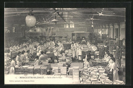 AK Biscuits Olibet, Dans L`Usine, Salle D`emboitage, Kekse - Advertising