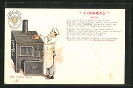 AK Koch Am Ofen, Reklame Für L`Omnibus Odelin - Advertising