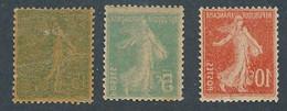 EC-322: FRANCE: Lot Avec N°130h Léger Pli)-137l**-138m**  (RECTO VERSO) - Unused Stamps