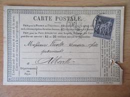 France - Timbre Sage 10c N°89 Sur Précurseur Entre Armentières Et Abbeville - CàD 1878 - 1877-1920: Période Semi Moderne