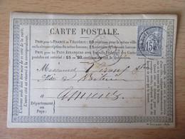 France - Timbre Sage 15c N°77 Sur Précurseur Entre Abbeville Et Amiens - CàD 1877 - 1877-1920: Période Semi Moderne