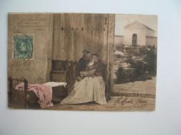 CPA Espagne Murcia   - Tajeta Fotografica - Murcia  Une Vieille Femme Embrassant Un Enfant -  Postkarte Spanien - Murcia
