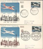 2 Enveloppes 1er Premier Jour FDC Avion N°8 + 8A MS 760 Le Paris CAD + CAD Illustré Ballon Monté 14 2 59 Paris YT Ae 35 - 1950-1959