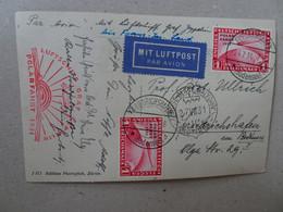 Deutsches Reich 456 Met Auf Zeppelinpostkarte 1 Mark Polarfahrt (6532) - Briefe U. Dokumente