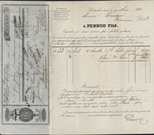 YT 45 Helvetia Assise Ambulant Neuchâtel Pontarlier 19 III 81 Facture + Traite Pernod Fils Pr Absinthe Signature Pernod - Lettres & Documents