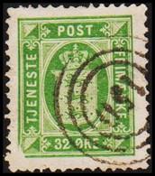 1875. Official. 32 Øre Green. Perf. 14x13½ With Variety Cancelled 150 Kjellerup (Michel D7YA) - JF421705 - Dienstzegels