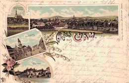 78098- Litho Gruss Aus Cham Mit Marktplatz Und Bierthor - Cham