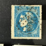 YT 46B BLEU Report 2 Position 2 - B - Scans Recto Verso - Côte > 30€ - 1870 Bordeaux Printing