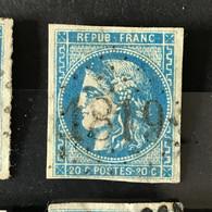 YT 46B BLEU Report 2 Position 3 - TB - Scans Recto Verso - Côte > 30€ - 1870 Bordeaux Printing