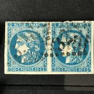YT 46B BLEU Paire Report 2 Position 4 Et 5 - TB - Scans Recto Verso - Côte > 60€ - 1870 Bordeaux Printing
