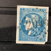 YT 46B BLEU  Report 2 Position 6 - TB - Scans Recto Verso - Côte > 30€ - 1870 Bordeaux Printing