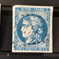 YT 46B BLEU  Report 2 Position 7 - TB - Scans Recto Verso - Côte > 30€ - 1870 Bordeaux Printing
