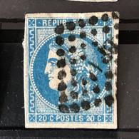 YT 46B BLEU  Report 2 Position 8 - TB - Scans Recto Verso - Côte > 30€ - 1870 Bordeaux Printing