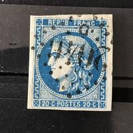 YT 46B BLEU  Report 2 Position 11 - TB - Scans Recto Verso - Côte > 30€ - 1870 Bordeaux Printing