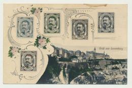 Carte Représentant Les Timbres Du Luxembourg - Vue Du Grand Duché - Couleur - Luxemburg - Stad