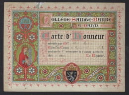 GAND * GENT * COLLEGE SAINTE BARBE * CARTE D HONNEUR * 1894 - 1895 * 16.5 X12 CM * LITHO * P RACUY * SOC DE SAINT AUGUST - Diplomi E Pagelle