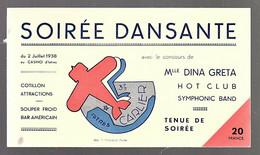 Rar Carton Invitation Soirée Dansante 1938 Ancien Avion 379 Carlier Istres Greta Aéronautique - Colecciones