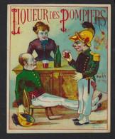 """ETIQUETTE ANCIENNE * ALCOOL * """" LIQUEUR DES POMPIERS """" * 11.5 X 9.5 CM - Autres"""