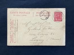 Postkaart 10c Rood CHARLEROY - LIGNY - 1919-1920 Behelmter König