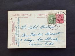 Postkaart 10c Rood Bijfrankering 5c Groen Albert I - LAUWE - 1919-1920 Roi Casqué