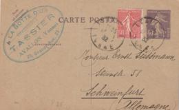 Yvert 236 CP1 Date 644 Complément Affranchissement AVALLON Yonne 13/1/1932 Pour Schweinfurt Allemagne - Standard Postcards & Stamped On Demand (before 1995)