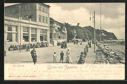 AK Sassnitz, Am Strande Mit Café Bieramare - Sassnitz
