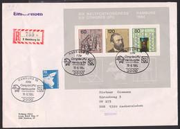 """Weltpostkongress Hamburg 1984 BRD Block 19 R-Brief Mit SoSt. """"Congres UPU Hamburg '84"""" In DDR Mit Kontrollemarkierung - Briefe U. Dokumente"""
