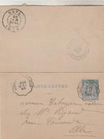 Yvert 90 CL Sage Cachet Ambulant Convoyeur LIMOGES à TOULOUSE 1893 Albi Tarn Verso TESSONNIERES à ALBI - Letter Cards