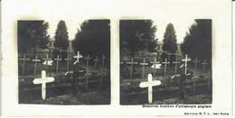 PHOTO STEREOSCOPIQUE BEAUVAL TOMBES D'AVIATEURS ANGLAIS EDITION S.T.L. - Guerra, Militari