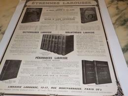 ANCIENNE PUBLICITE LIVRES D  ETRENNES LAROUSSE 1916 - Other