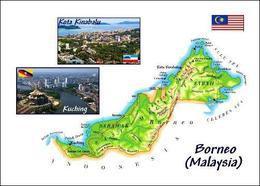 Borneo Malaysia Map New Postcard Landkarte AK - Malaysia