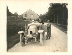 AUTOMOBILE 1911 CONDUITE PAR CHARLES VILLEMANT ROUTE DE PLOMBIERES PHOTO FORMAT 11 X 8.50 - Automobili