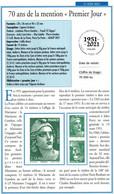 """2021 / 1 DOUBLE FICHE INFO Recto-verso  """"   MARIANNE DE GANDON - 70 Ans De La Mention 1er Jour - MARIANNE L' ENGAGEE   """" - Sin Clasificación"""