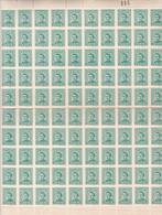 URUGUAY. JOSE GERVASIO DE ARTIGAS 3 CENTESIMOS VERDE, AÑOS 1947-1951. PLANCHA COMPLETA DE 100 SELLOS MNH TBE.- LILHU - Uruguay