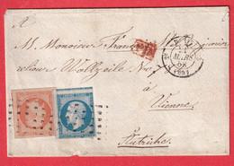 N°16 14 ROULETTE GROS PONTS PARIS 2E 60 3 VIENNE WIEN AUTRICHE AUSTRIA - 1849-1876: Classic Period