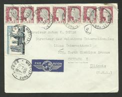 DREUX 07.04.1961 / Lettre Avion >>> USA / Affr. Marianne Decaris X 7 + 0.15 Cathédrale Laon.....au Tarif - 1960 Marianne Of Decaris