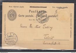 Postkarte Van Zurich Naar Tilsit - Briefe U. Dokumente