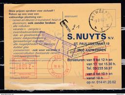 Kaart Van Antwerpen AXN Naar Antwerpen Met Taksstempel - Covers & Documents