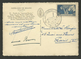 1er Jour / Centenaire De L'hotel Dieu De BEAUNE 21.07.1943 / Timbre Concordant - Briefe U. Dokumente