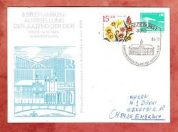 PP Palast Der Republik Berlin + ZF, Briefmarkenausstellung Der Jugend, Magdeburg Nach Embrach Schweiz 1984 (4759) - Privatpostkarten - Gebraucht