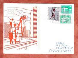 PP Palast Der Republik Berlin + ZF, Philatelistenverband Im Kulturbund, Halle Nach Embrach Schweiz 1984 (4760) - Privatpostkarten - Gebraucht