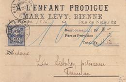 Carte Contre Remboursement De La Firme A L'ENFANT PRODIGUE, Marx Lévy, Bienne, à Destination De Tramelan - 1903 - Otros