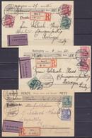 """Lot De 3 Cartes Recommandées Remboursement Affr. 25pf Càpt METZ 1906, 1910 & 1911 Pour REDINGEN (Redange) - étiq. """"Nachn - Unclassified"""